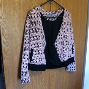 NY Collection Pink and Black Brocade Blazer